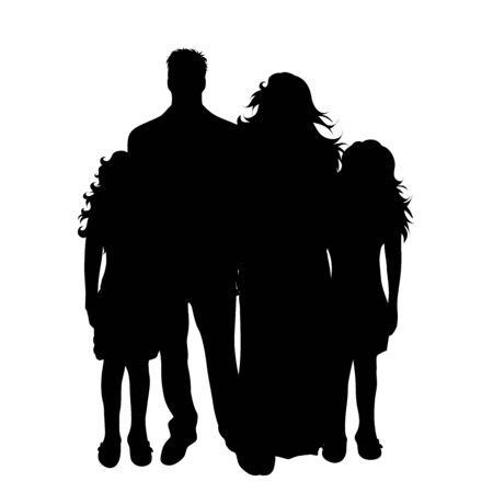 Vector silhouette of family on white background. Symbol of mother, father, child,husband, wife,daughter. 向量圖像