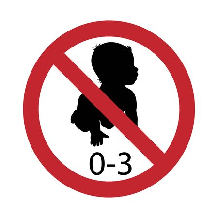 Vector silhouette not for children under 3 years on white background. Symbol of stop,prohibition,warning,child, Foto de archivo - 128938340