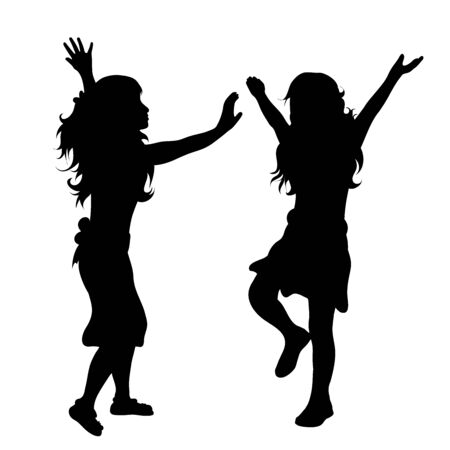 Vector silhouette of children´s friends on white background. Symbol of child, girl,siblings,sister,free, funny.