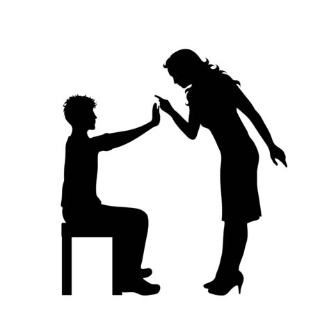 Vector silhouette of family where is mother be angry. Symbol of children, father, cry,venom,sad,annoy.