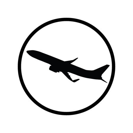Vector silhouette of aircraft on white background. Symbol of travel, plane,airplane,transport. Logo in round frame. Banque d'images - 128938480