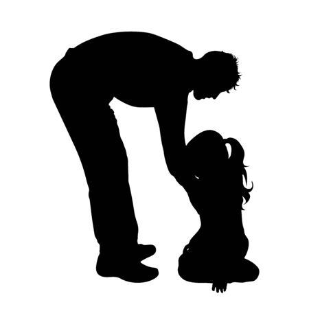 Silhouette vecteur du père avec sa fille sur fond blanc. Symbole de famille, de soins, de protection.