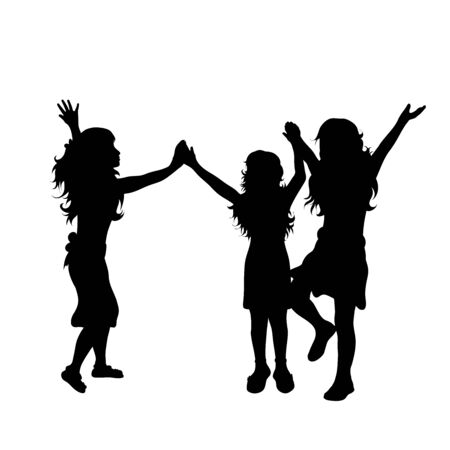 Vector silhouette of childrens friends on white background. Symbol of child, girl,siblings,sister,free, funny.