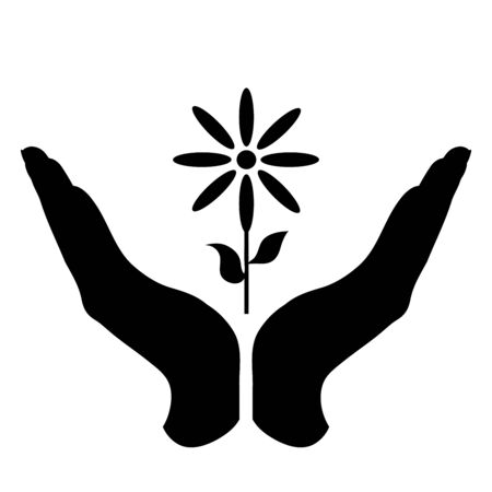 Vector silhouette of a hand in a defensive gesture protecting a flower. Symbol of plant,agriculture,protection,fresh,park, nature.