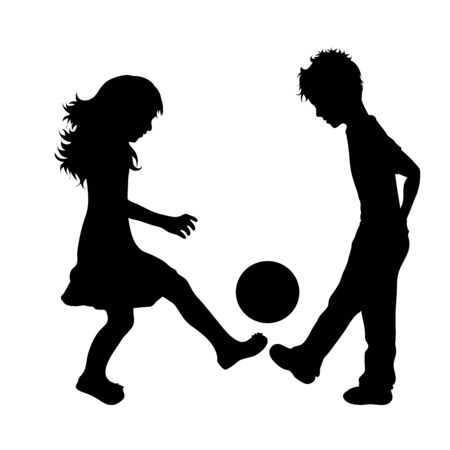 Vector silhouette of children´s friends who play football on white background. Symbol of child, girl,siblings,sister,boy, brother,play, game.
