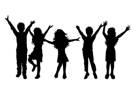 Vector silhouette of childrens friends on white background. Symbol of child, girl,siblings,sister,boy, brother,free,funny.