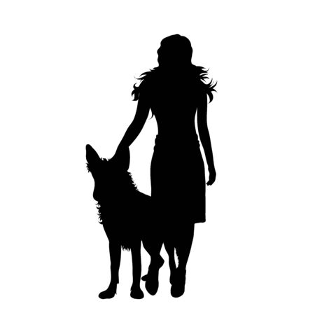 Vector silhouette of woman who walk with her dog on white background. Symbol of animal, pet, friends,walk.