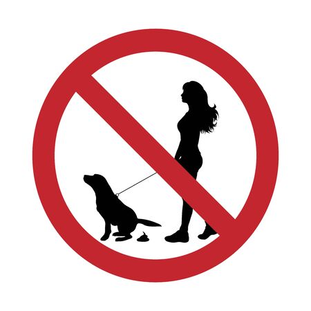 Vector silhouette no dog poop mark on white background. Symbol of stop,prohibition,warning,clean up. Illustration