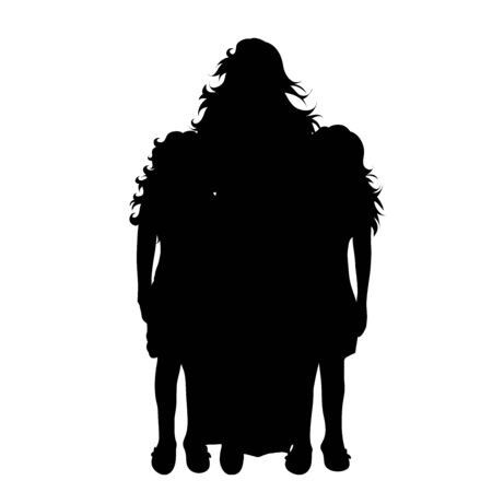 Vector silhouette of mother with her children on white background. Symbol of family, daughter,twins,siblings. 向量圖像