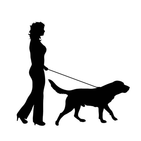 Vector silhouette of woman who walk with her dog with leash on white badkground. Symbol of animal, pet, friends,walk.
