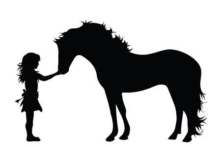 Siluetta di vettore della ragazza con il cavallo su priorità bassa bianca. Simbolo di animali, amici, infanzia, animali domestici.