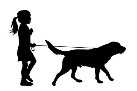 Vektorsilhouette eines Kindes, das mit ihrem Hund mit Leine auf weißem Badkground spazieren geht. Symbol für Tier, Haustier, Freunde, Spaziergang.