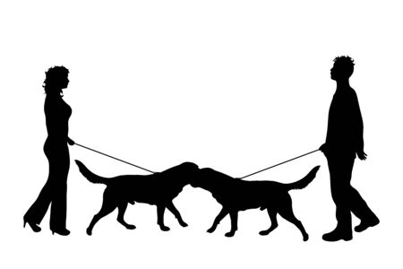 Vector silhouette of couple who walks with their dogs with leash on white badkground. Symbol of animal, pet, friends,walk.
