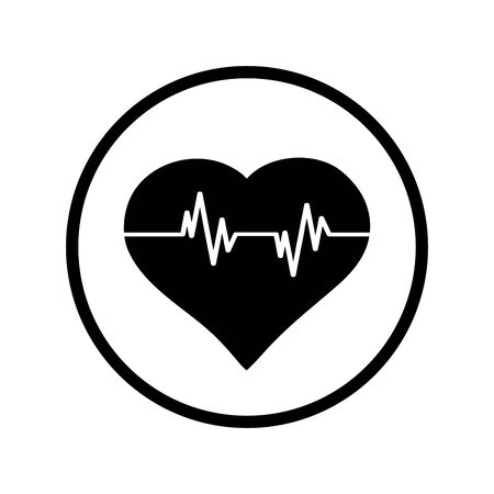 Vector silhouette of heart with pulse on white background. Symbol of healthy, hospital, care,love,doctor,medical. Logo in round frame.