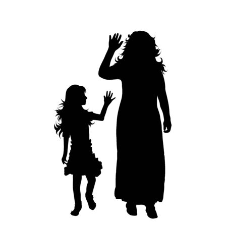 Vector silhouette of mother with her daughter on white background. Symbol of family, daughter, maternity.