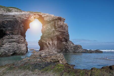 Beach of the cathedrals, Ribadeo, Lugo, Galicia, Spain, playa de los catedrales.