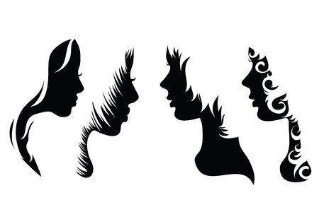 Vector silhouette of woman´s face on white background. Symbol of hair, icon, logo, girl, beauty, hairdresser, hairstyle. Illustration