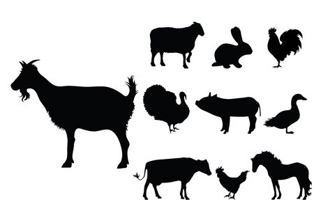 Collection vectors of domestic animal on white background. Symbol of goat, sheep, rabbit, hen, rooster, pig, cow, horse, farm,breeding, logo, sign.