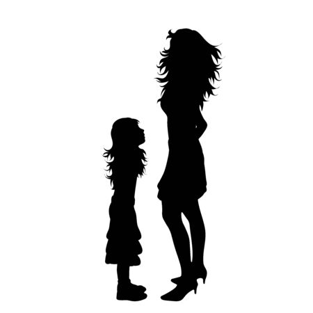 Vector silhouette of mother with her daughter on white background. Symbol of family, child, maternity, sister, siblings.