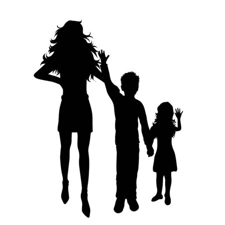 Vector silhouette of mother with her children on white background. Symbol of family, daughter, son, siblings, brother, sister, happy. Ilustrace