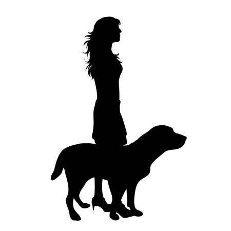 Vector silhouette of girl with her dog on white background. Symbol of friends, care, animal, woman, female. Stockfoto
