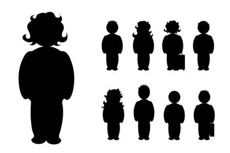 Vector silhouette of people on white background. Symbol of girl, boy, man, woman, couple, logo. Stockfoto