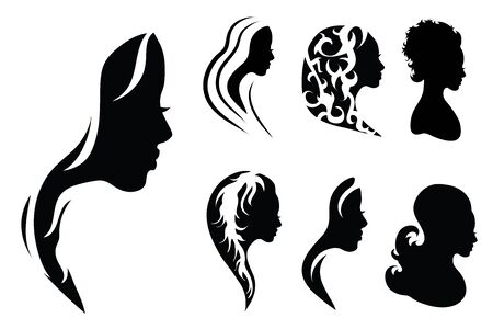 Vector silhouette of woman on white background. Symbol of girl, hair, face, hairstyle, logo. Standard-Bild