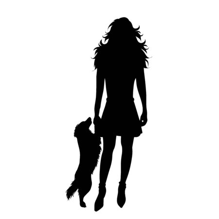 Vector silhouette of girl with her dog on white background. Symbol of friends, care, animal, woman, female, jump.