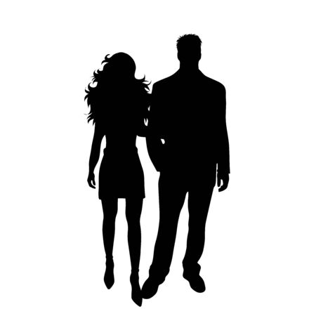 Vector silhouette of couple on white background. Symbol of pair, husband, wife., love, date, man, woman.