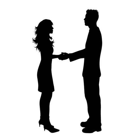 Vector silhouette of couple on white background. Symbol of man, woman, slim, fashion, beauty, logo, handshake, salute.