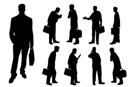 Vector silhouette of businessman on white background. Symbol of work, manger, job, man, worker, illustration, walk, call, phone.