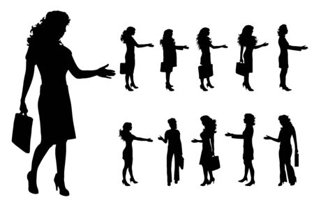 Vector silhouette of businesswoman on white background. Symbol of work, manger, job, woman, worker, illustration, walk, call, phone.
