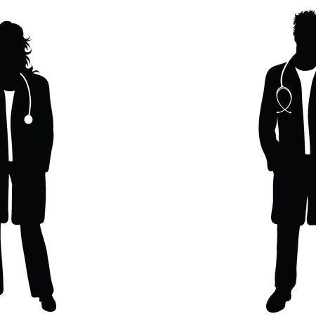 Siluetta di vettore del medico su priorità bassa bianca. Simbolo di donna, uomo, persone, persona, clinica, medico, ospedale, urgenza, malato, malattia.