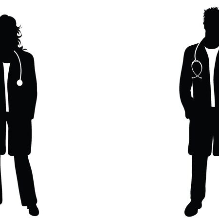 Vector silhouette of doctor on white background. Symbol of woman, man, people, person, clinic, medical, hospital, urgency, sick, illness.