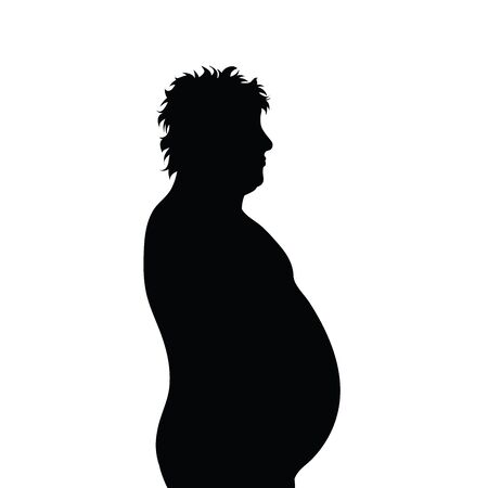 Vector silhouete of obese man on white background. Symbol of boy, fat, unhealthy, people, person, obesity, overweight.