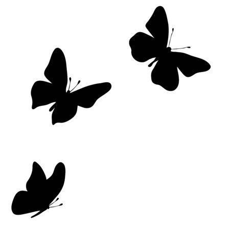 Silhouette vecteur de papillon sur fond blanc. Symbole d'animal, d'insecte, de mouche, de migrateur. Vecteurs