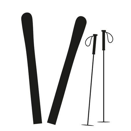 Vector silhouete of ski on white background. Symbol of snow, sport, winter, skiing. Иллюстрация