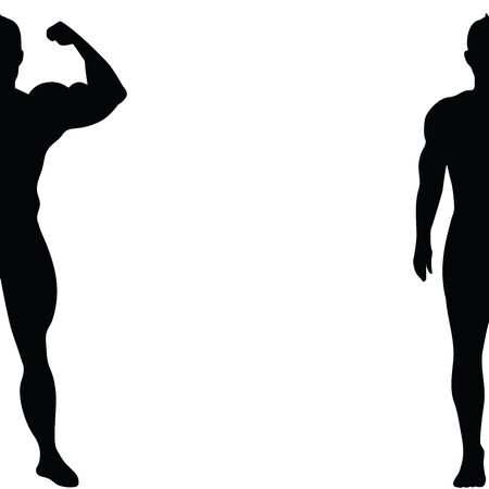 Vector silhouette of muscleman on white background. Symbol of fitness, boy, gym, healthy, diet, sport. Illustration