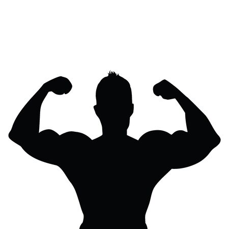 Vector silhouette of muscleman on white background. Symbol of fitness, boy, gym, healthy, diet, sport.