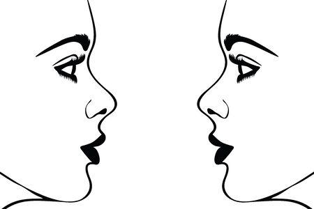 흰색 바탕에 여자의 얼굴의 벡터 실루엣입니다. 소녀, 예쁜, 좋은, 패션, 사람, 사람, 쌍둥이의 상징.