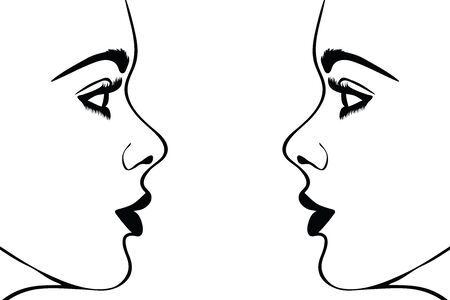 Vector silhouete of woman´s face on white background. Symbol of girl, pretty, nice, fashion, people, person, twins.