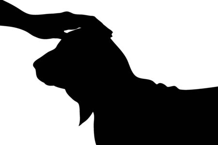 Vector silhouette of person who fondle his dog on white background. Symbol of animal, pet, care, love, save, vet, veterinary.