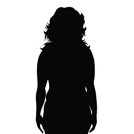 Vector silhouete of obese woman on white background. Symbol of girl, fat, unhealthy, people, person, obesity, overweight.  イラスト・ベクター素材