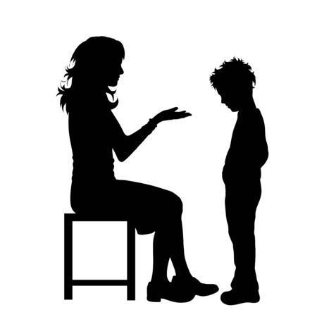 Vector silhouette of mother with her son on white background. Symbol of family, boy, obedience, educacion, home, care.