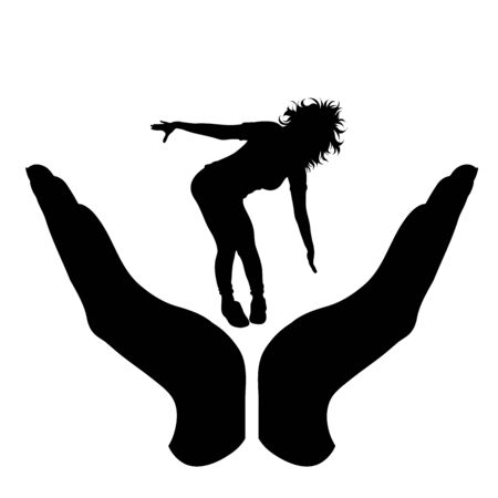 Vector silhouette of a hand in a protection gesture protecting a dance girl. Symbol of insurance, woman, female, music, crazy, party, happy, people, person, defensive, healthy, safe, security, support.