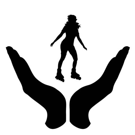 Vector silhouette of a hand in a protection gesture protecting a girl on roller skates. Symbol of insurance, woman, female, sport, slim, diet, park, people, person, defensive, healthy, safe, security, support. Imagens - 134174195