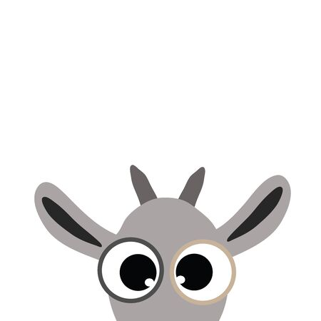 Vector illustration of goar on white background. Symbol of animal, pet, farm, ears, eyes, curious, domestic.
