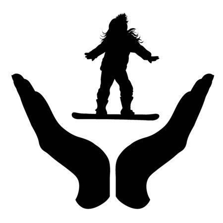 Vector silhouette of a hand in a protection gesture protecting a skateboarding child. Symbol of insurance, girl, infant, sport, skateboard, board, winter, snow, healthy, people, person, defensive, safe, security, support. Ilustração