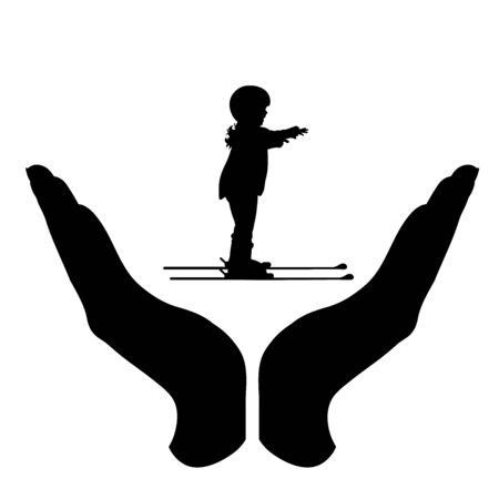 Vector silhouette of a hand in a protection gesture protecting a skiing child. Symbol of insurance, girl, infant, sport, ski, winter, snow, healthy, people, person, defensive, safe, security, support.