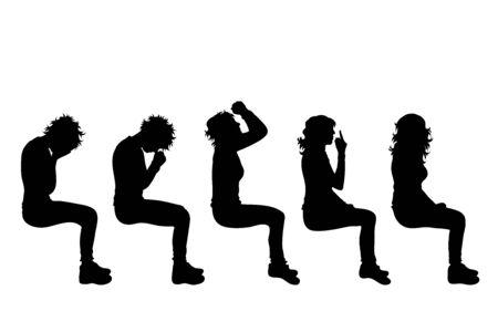 Silueta de vector de colección de mujeres que se sientan sobre fondo blanco. Símbolo de niña, gente, sentarse, llorar, rezar, estrés, tristeza, cuerpo.